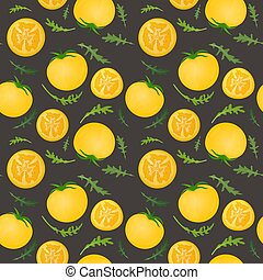 Yellow tomatoes on dark background. Tomato vegetable with arugula leaves. Vector illustration. Seamless pattern.