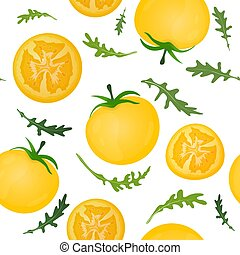 Yellow tomatoes on white background. Tomato vegetable with arugula leaves. Vector illustration. Seamless pattern.