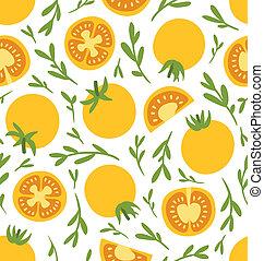 Yellow tomatoes seamless pattern