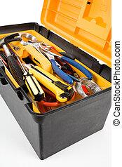 Yellow Toolbox close up shot