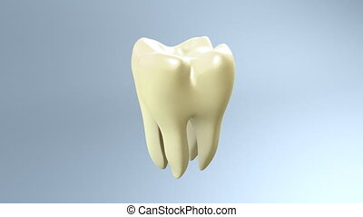The yellow tooth to be health tooth for tooth care concept.