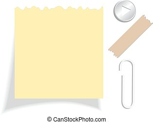 Yellow torn note paper
