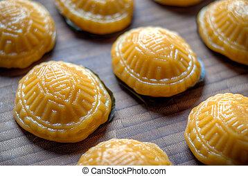 Yellow tortoise cake Ang Koo - yellow tortoise steamed...