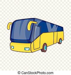 Yellow tourist bus icon, cartoon style