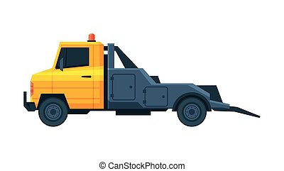 Yellow Tow Truck, Evacuation Vehicle, Road Assistance Service Flat Vector Illustration