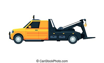 Yellow Tow Truck, Road Assistance and Evacuation Service Flat Vector Illustration