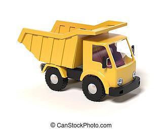 Yellow toy dump truck 3d rendering