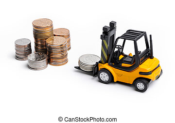 Yellow toy forklift and money - Yellow toy forklift moving ...