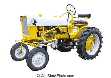Yellow tractor - An Old Yellow Tractor Isolated on White