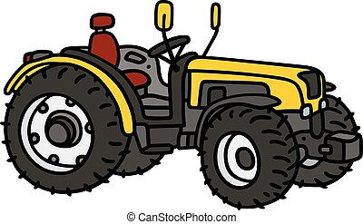 Hand drawing of a yellow small open tractor - not a real model