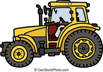 Hand drawing of a yellow tractor - not a real model