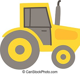 Yellow tractor illustration color vector on white background