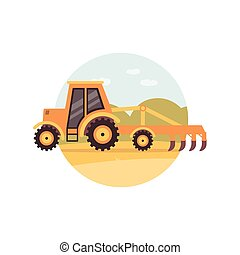 Yellow tractor plowing a field - agriculture machine with ...