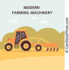 Yellow tractor plowing the field - agriculture machine with ...