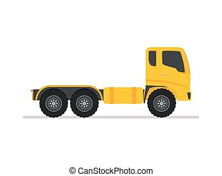 yellow tractor truck trailer long vehicle with flat design style on a white background. delivery service concept. vector illustration.