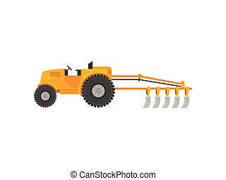 Yellow tractor with a plow. Vector illustration on white background.