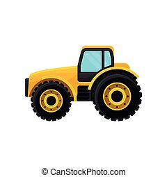 Yellow tractor with large wheels, side view. Heavy machinery. Farm equipment. Modern agricultural vehicle. Flat vector icon