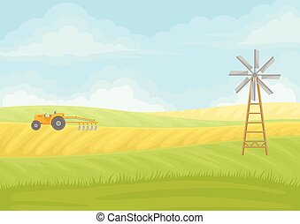 Yellow tractor with plow in the field. Vector illustration on white background.