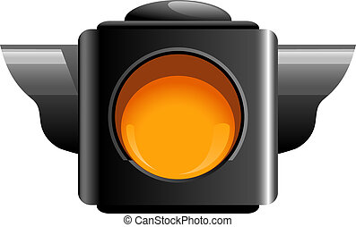 Yellow traffic light isolated on white. EPS 10, AI, JPEG