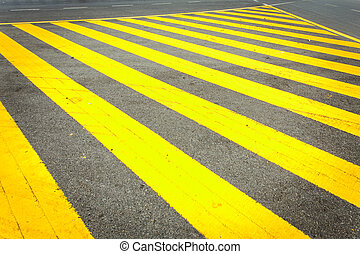 Yellow traffic line on the road