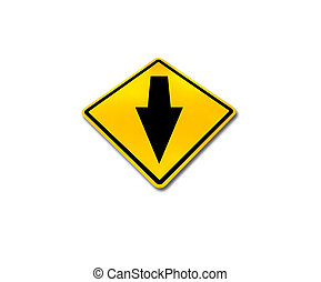 Yellow traffic sign, go straight solated on white background