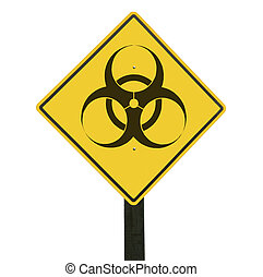 Yellow traffic sign with biohazard symbol.
