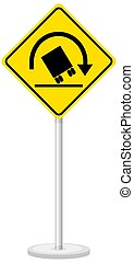 Yellow traffic warning sign on white background