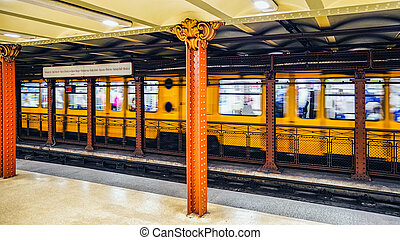 Yellow train in Budapest metro, Hungary