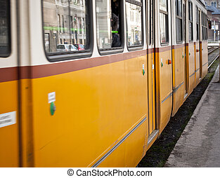 Yellow tram in Budapest