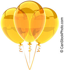 Three party balloons yellow translucent. Beautiful shiny birthday festival decoration. Joyful happiness holiday emotions concept. Detailed three-dimensional render 3d. Isolated on white background