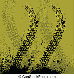 Yellow transportation background - Yellow car tire track...