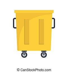 Yellow trash bin icon, flat style