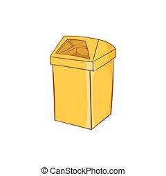 Yellow trash icon, cartoon style