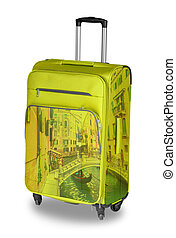 Yellow Travel bug with the image of Venice. isolated on white background