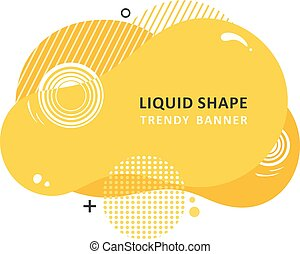 Yellow trendy concept. Mosaic amoeba design. Abstract colorful waves. Modern vector memphis liquid shape.