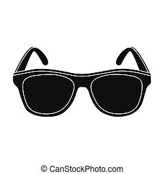 Yellow trendy sunglasses icon in black style isolated on...