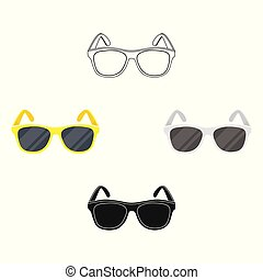 Yellow trendy sunglasses icon in cartoon style isolated on...