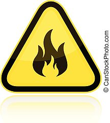 Yellow triangular flammable warning sign