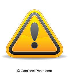 yellow triangular warning sign