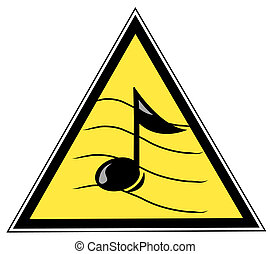 yellow triangular with with a musical note