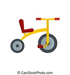 Yellow tricycle icon, flat style