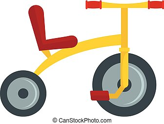 Yellow tricycle icon, flat style - Yellow tricycle icon....