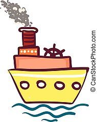 Yellow triple layered steam ship vector or color illustration