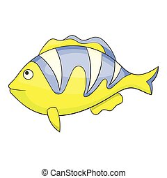 Yellow tropical stripped fish icon, cartoon style