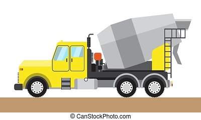 Yellow truck concrete mixer. Isolated on a white background...