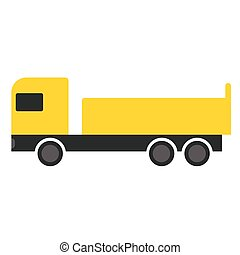 Yellow truck flat illustration on white