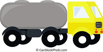 Yellow truck, illustration, vector on white background.