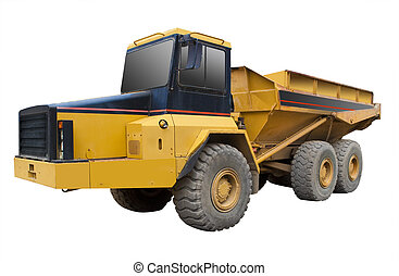 Yellow truck, isolated