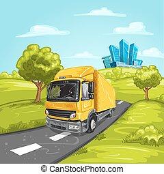 Yellow truck on asphalt road
