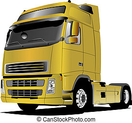 yellow truck on the road. Vector illustration